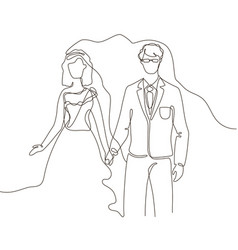 wedding - one line design style vector image