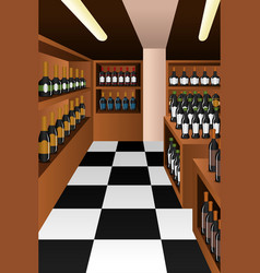 Wine section in a store vector
