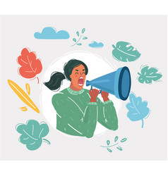Woman shouting with a megaphone vector