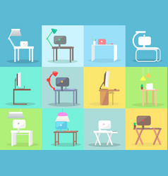 workplace with modern furniture and pc set vector image