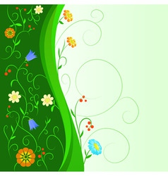 abstract flowers with floral green stem vector image vector image