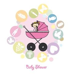 Baby girl baptism invitation card vector