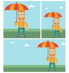Business man with umbrella vector image vector image