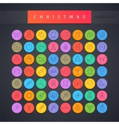 Christmas Round Embossed Icons Set vector image