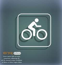 Cyclist icon On the blue-green abstract background vector image