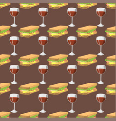 Sandwiches with wine glass seamless pattern vector