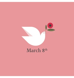 Dove with flower International Womens Day vector image