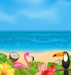Exotic Background with Toucan Pink Flamingo vector image