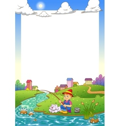 fishing boy frame vector image vector image