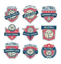 set of volleyball club emblems volleyball vector image vector image