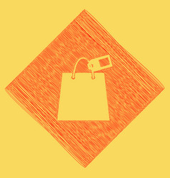 shopping bag sign with tag red scribble vector image