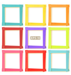 9 wooden picture frames color set vector image