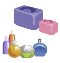 a set of perfumery and cosmetic bags vector image vector image