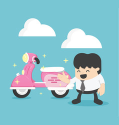 businessman with a new pink scooter vector image vector image