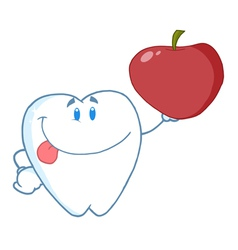 Dental Tooth Character Holding A Red Apple vector image vector image
