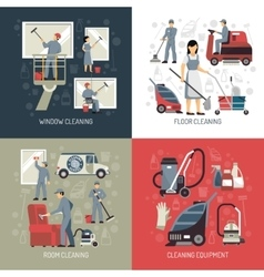 Industrial Cleaning 4 Flat Icons Square vector image vector image