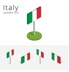 italy flag set of 3d isometric icons vector image
