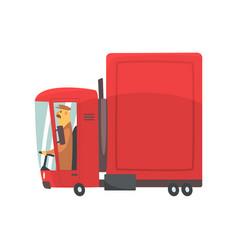 red cartoon semi truck cargo transport vector image