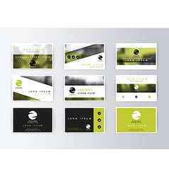Set of business cards green background Template vector image vector image