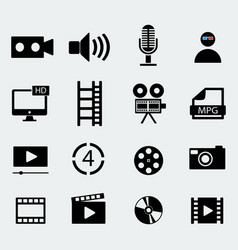 set of sixteen cinema icons vector image vector image