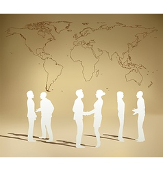 business people team with world map vector image