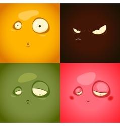 Cute cartoon emotions anger surprise sadness vector