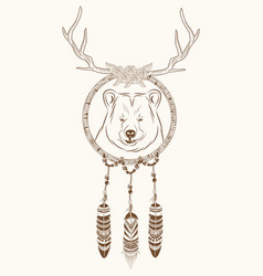 dream catcher bear horns ethnic vector image
