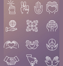 set of linear hand icons and gestures vector image vector image