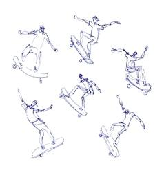 Skaters men set vector image