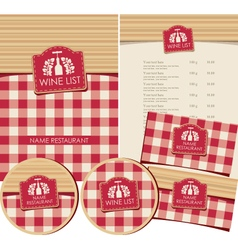 wine list set vector image vector image