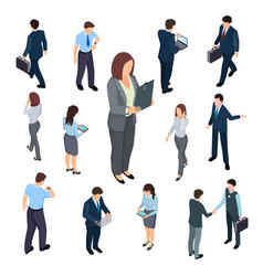 3d isometric business people of set vector image