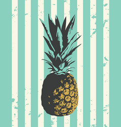 A whole pineapple with leaves close up on white vector
