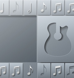 Abstract Music Guitar with Notes Design Template vector image