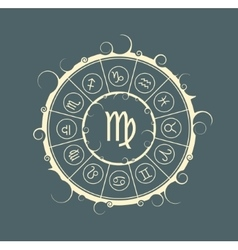 Astrology symbols in circle Maiden sign vector