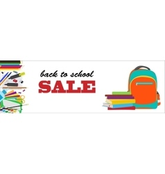 Back to school horizontal banner vector