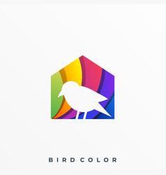 Bird with house template vector