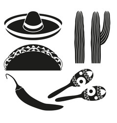 black and white 6 mexican elements vector image