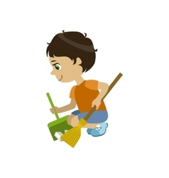 Boy Doing A Garden Clean Up vector image