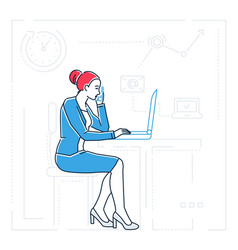 Businesswoman at the computer - line design style vector