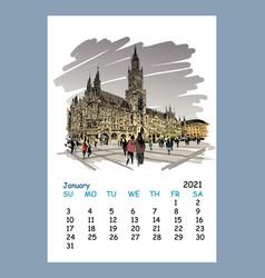 calendar sheet january month 2021 year berlin vector image