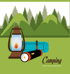camping zone with equipment scene vector image