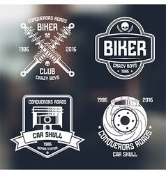 Car repair and biker club emblems vector image
