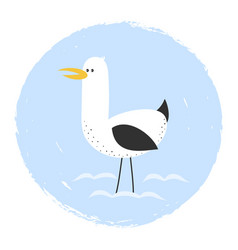card with cute seagull vector image