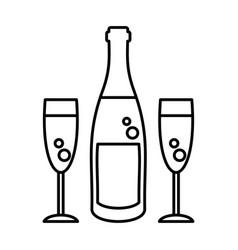 Champagne bottle glasses vector