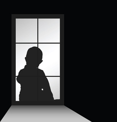 child with window silhouette vector image