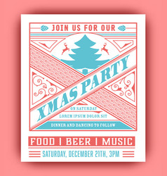 christmas party flyer retro typography and vector image