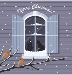 Christmas window with snowfall and birds vector