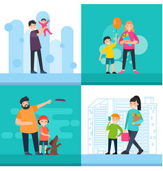 Colorful happy people square concept vector