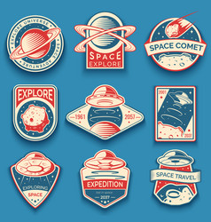 Colorful space ufo and planet labels logos vector