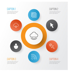 connection icons set collection of user wifi vector image